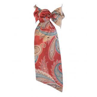 CADOU: Eşarfă mătase naturală cu volan şi headband Marsala Luxury