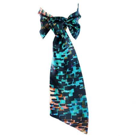 CADOU: Eşarfă mătase naturală cu volan şi headband Toscana Blues