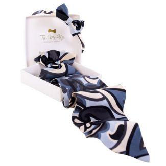 CADOU: Eşarfă mătase naturală cu volan si headband Hypnose