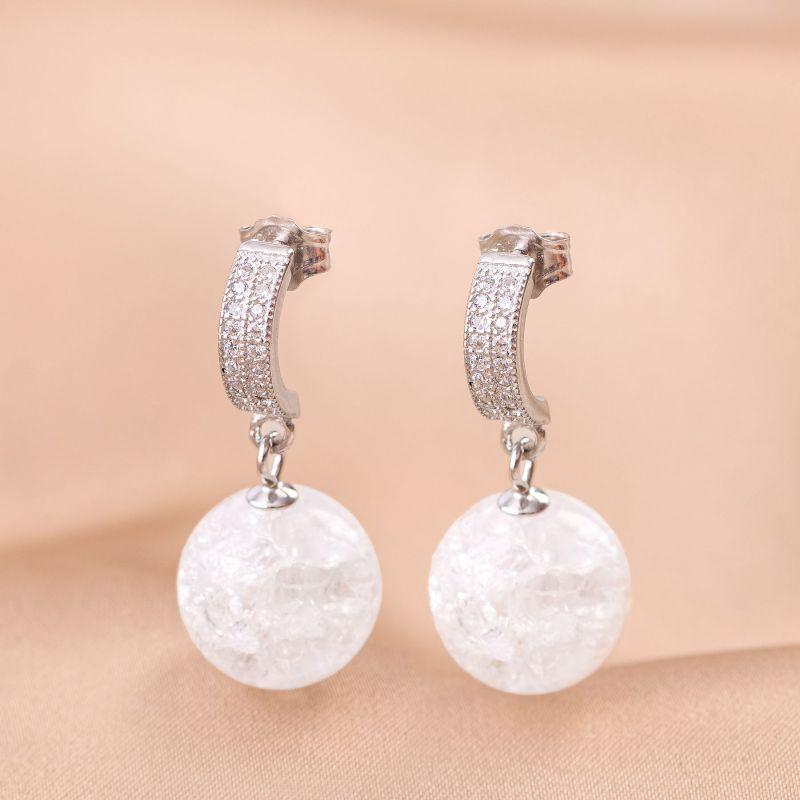 Ice crystal silver earrings
