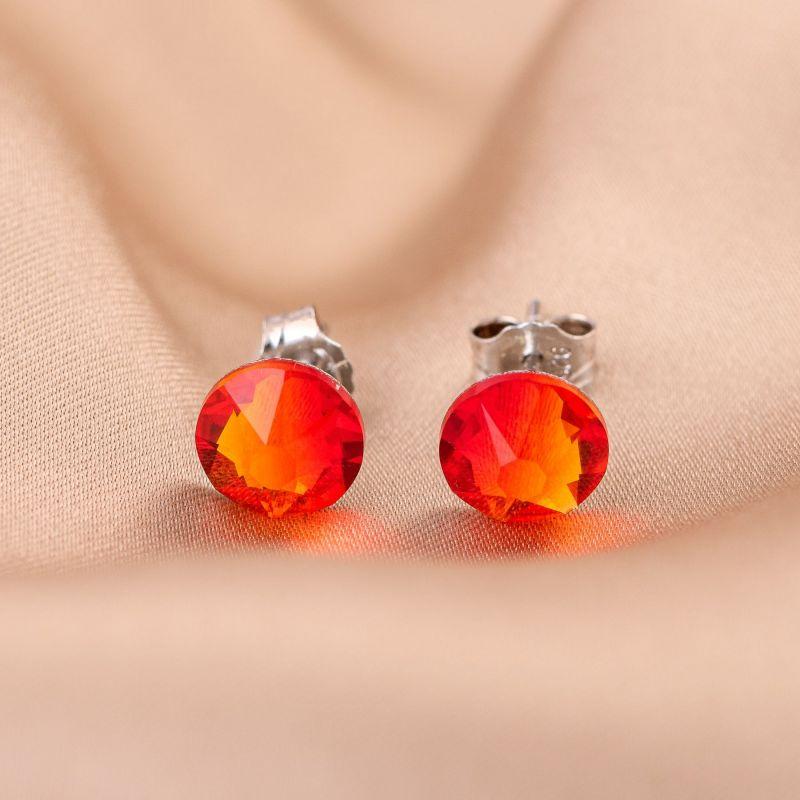 Silver Earrings Fireopal Crystal