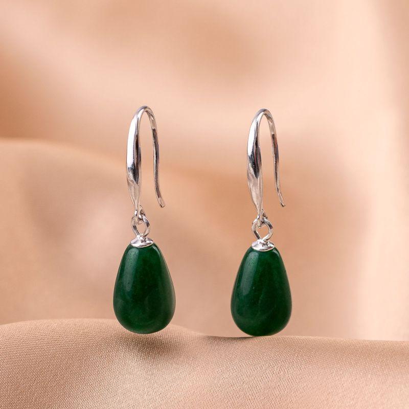 Cercei argint My Way jad verde