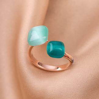 Inel reglabil argint Green Tiffany Cat Eye Rose
