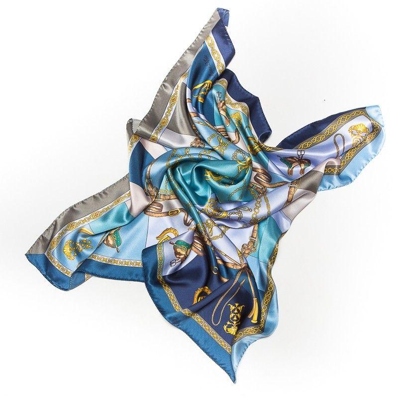 Silk Scarf Marina D'Este Sienna blue