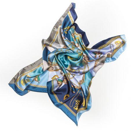 Esarfa matase naturala Marina D'Este Sienna blue