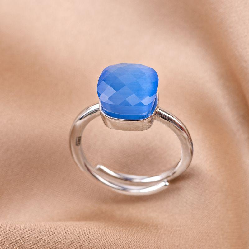 Inel reglabil argint Beauty Blue Tanzanite Cat Eye fatetat