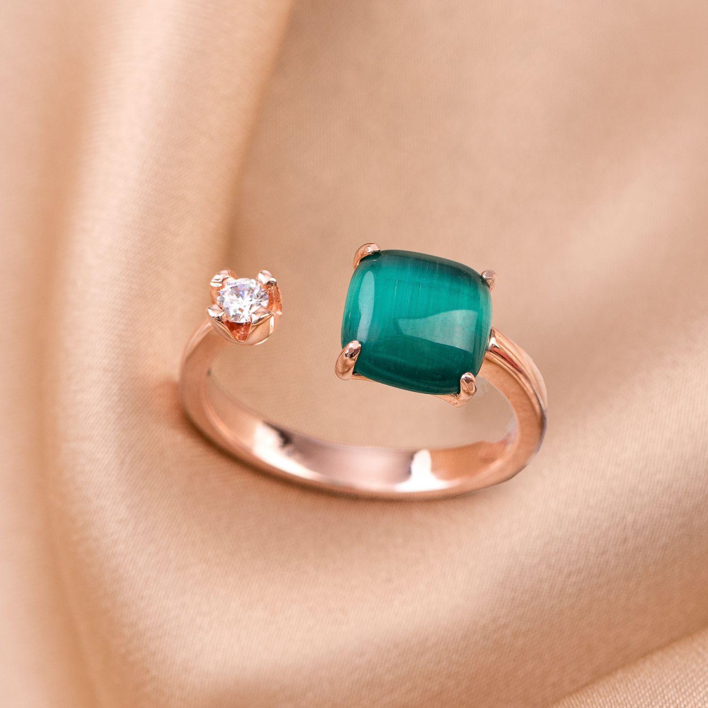 Inel reglabil argint Emerald Cat Eye square rose