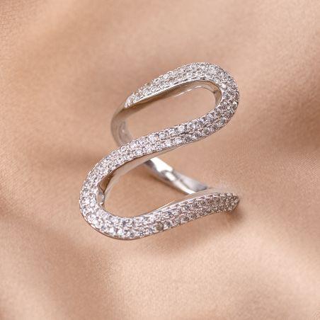Inel argint Cool Wave white zirconia nereglabil