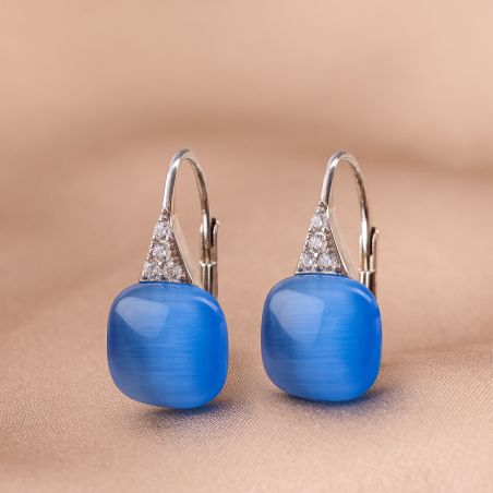 Cercei argint Blue Aqua Cat Eye patrat