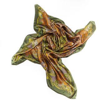 Silk Scarf Marina D'Este paisley olive