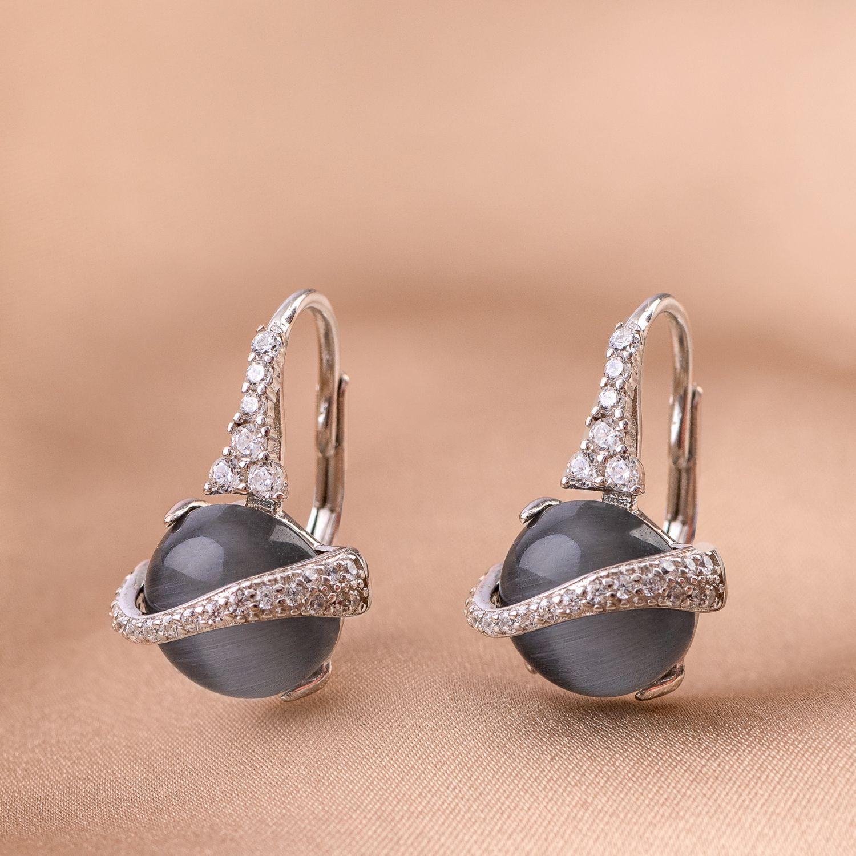 Cercei argint Grey Cat Eye zirconia