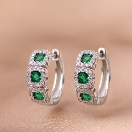 Cercei argint Crown zirconia emerald
