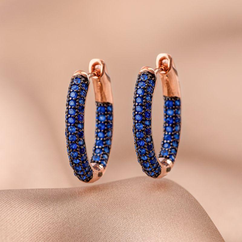 Cercei argint Creole Fashion blue zirconia