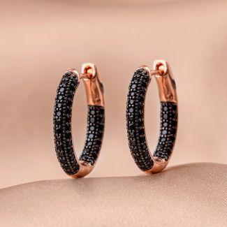 Cercei argint Creole Fashion black zirconia