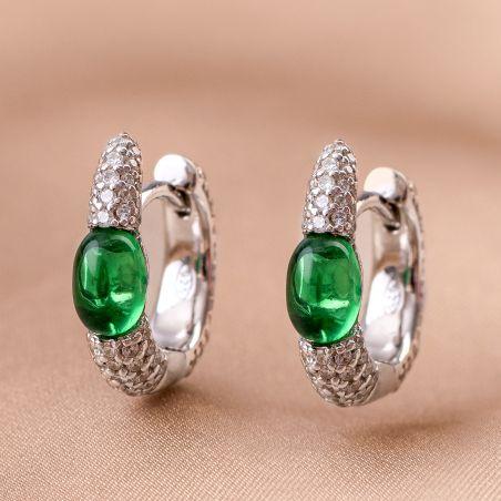 Cercei argint Princess zirconia emerald