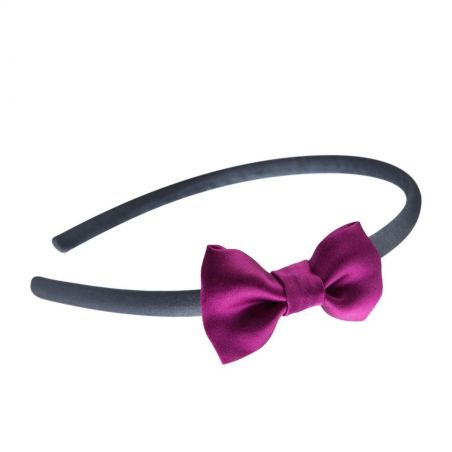 Dark gray headband with magenta bow