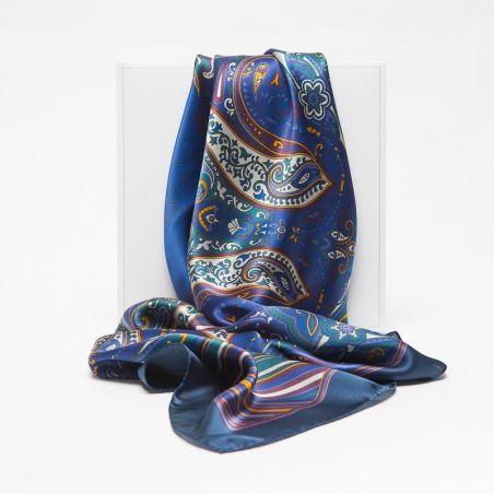 Luxury Gift: Silk Scarf Marina D'Este paisley arabesc and silk bow clip
