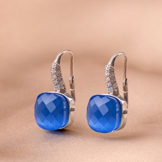 Cercei argint Beauty Blue Tanzanite Cat Eye fatetat
