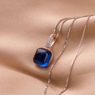 Colier argint Temptation Blue Velvet Cat Eye