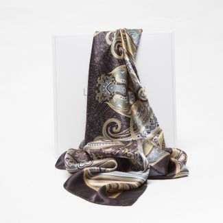 Luxury Gift: Silk Scarf Marina D'Este paisley earth