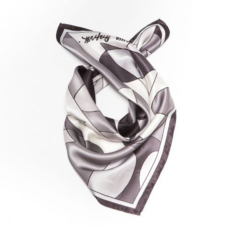 Luxury Gift: Silk Scarf Laura Biagiotti black abstract and silk bow clip