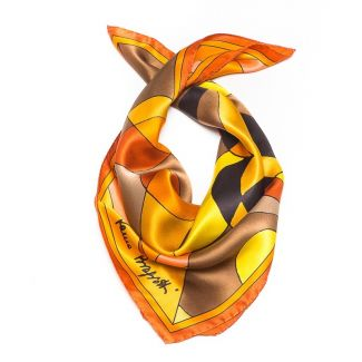 Luxury Gift: Silk Scarf Laura Biagiotti golden abstract and silk bow clip