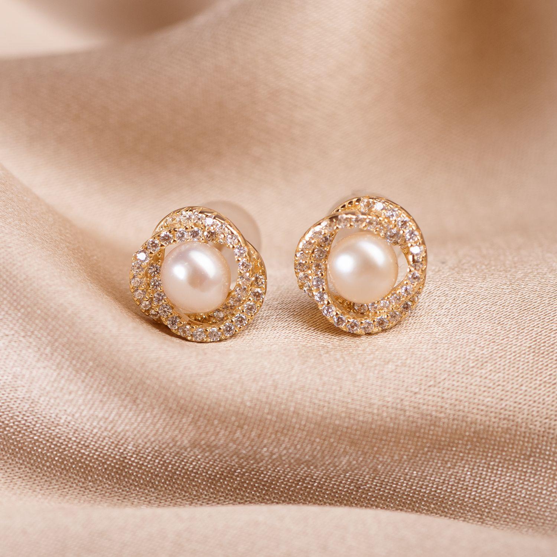 Cercei argint Flower Pearl