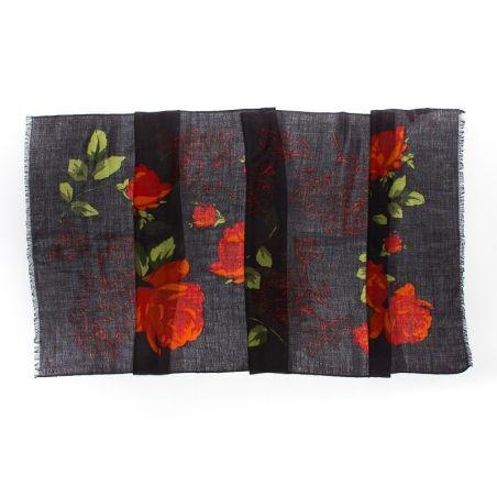 Esarfa lana Mila Schon black roses