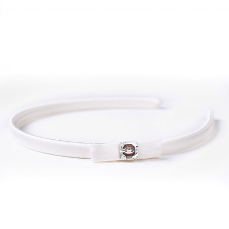 Headband white silk Swarovski