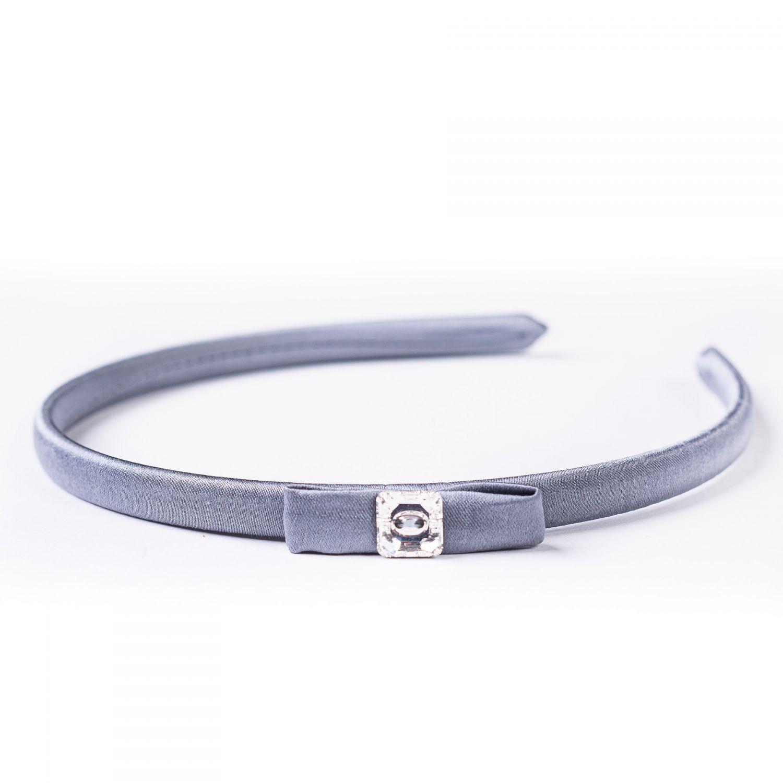 Headband sourise grey silk Swarovski