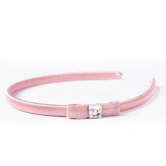 Headband light pink silk Swarovski
