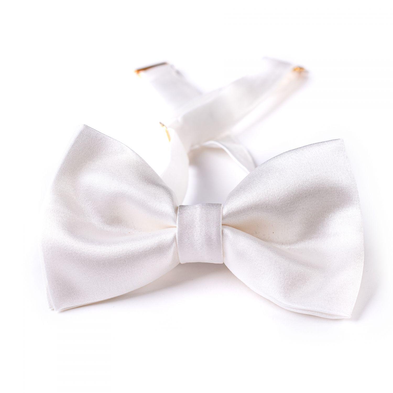 White silk bow tie