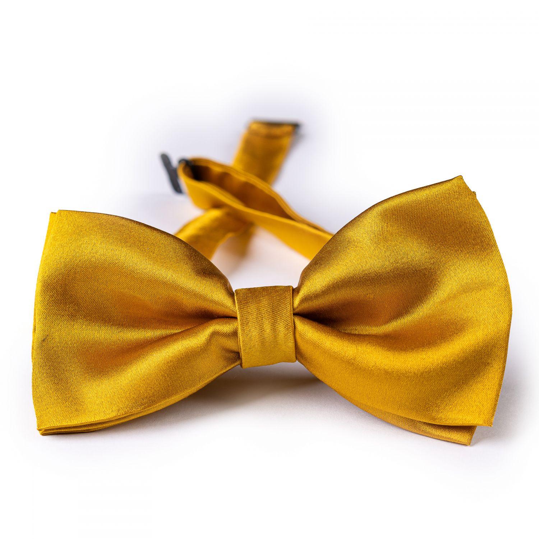 Gold silk bow tie