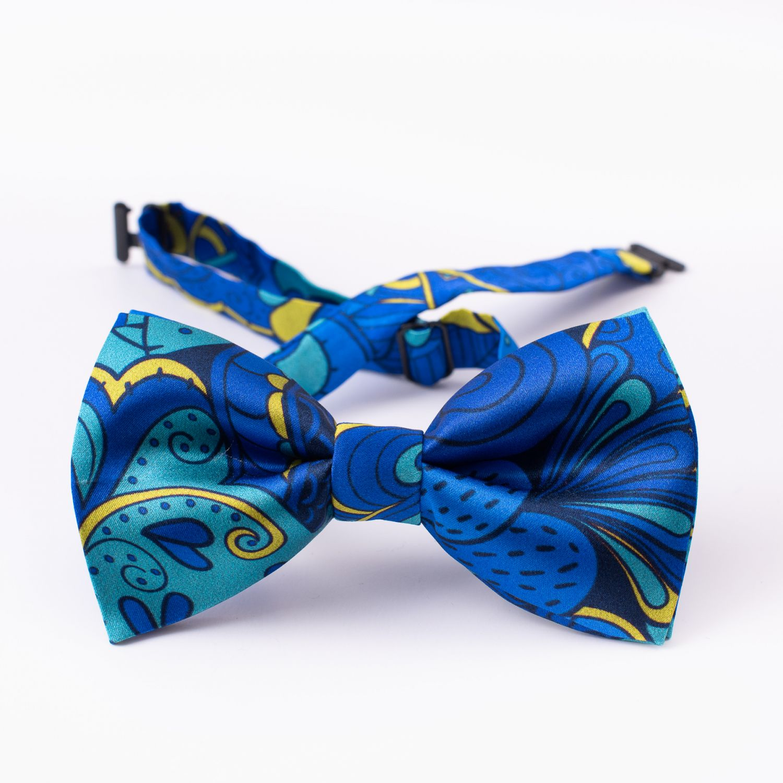 London Paisley 31 Santorini blue silk bow tie