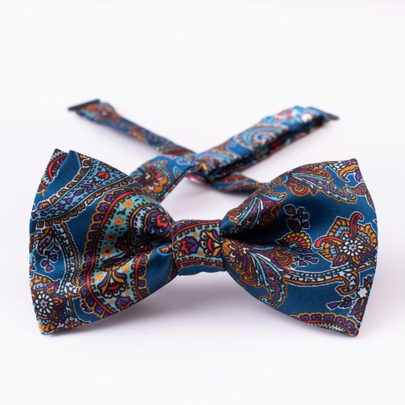 London Paisley 21 bordeaux silk bow tie