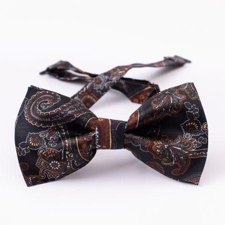 London Paisley 16 brown silk bow tie