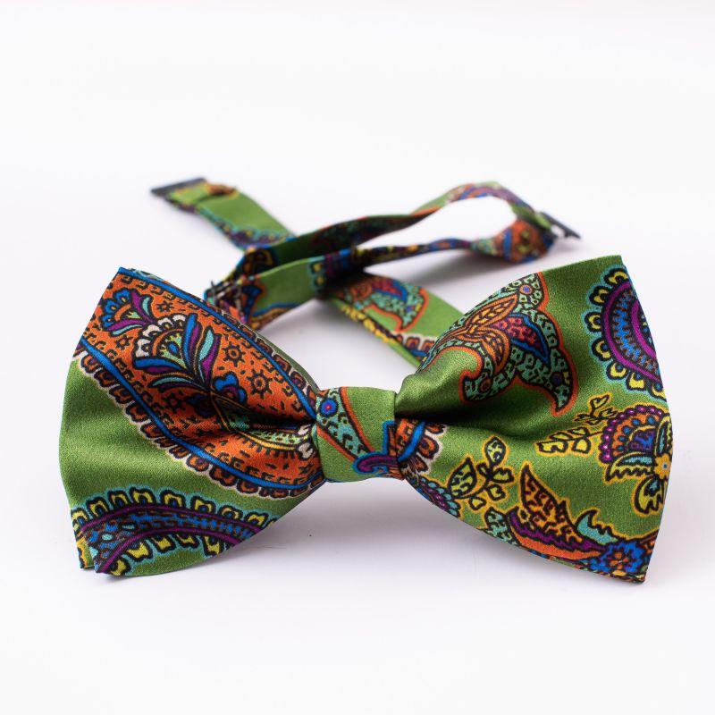 London Paisley 6 green silk bow tie