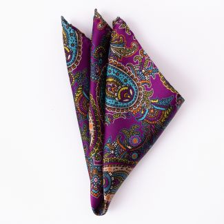 London Paisley 9 purple Silk Pocket