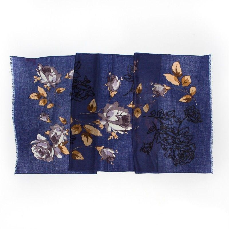 Esarfa lana Mila Schon print blu roses gray