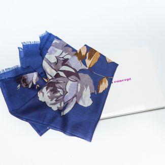Wool Scarf Mila Schon print blu roses gray