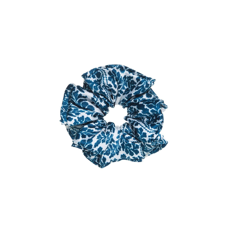 Hair twist floral alb-albastru