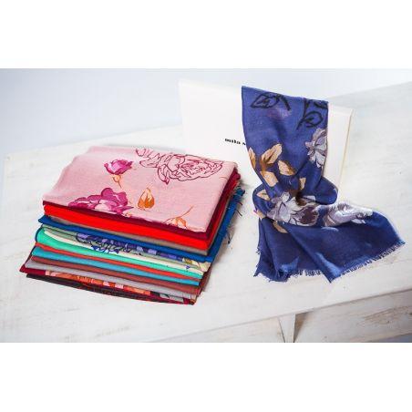 Esarfa lana Mila Schon blu roses
