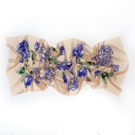 Wool Scarf Mila Schon bej blue roses