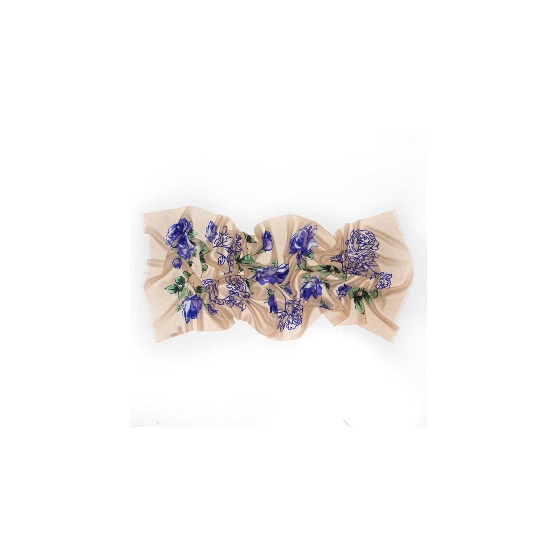 Esarfa lana Mila Schon bej blue roses