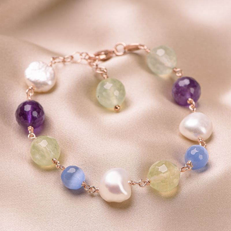Bratara argint Blue Cat Eye, ametist, perle