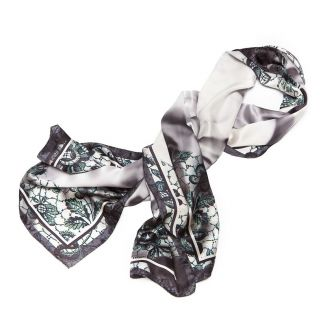 Silk Shawl Laura Biagiotti white roses black