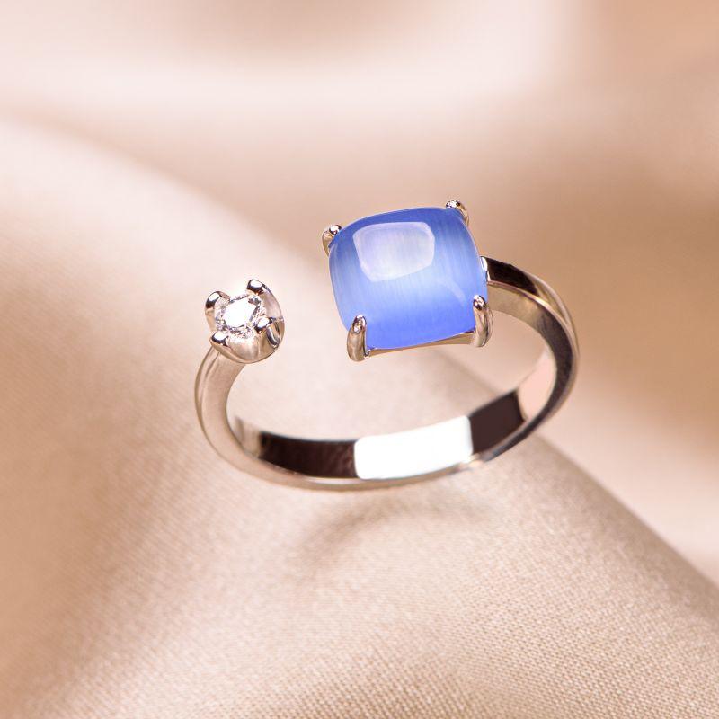 Inel reglabil argint Blue Tanzanite Cat Eye