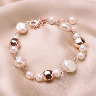 Bratara argint roz Pearls Code