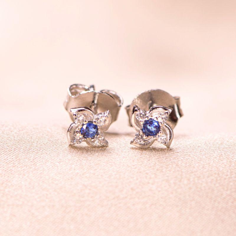 Cercei argint Minimal blue flower
