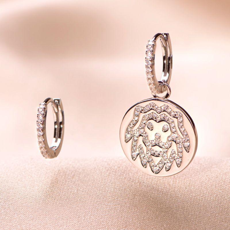 Sterling Silver Earrings Leon Zodiac